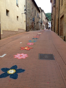 Local flower art on the streets in a nearby town.