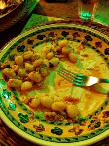 Now back in the Umbrian countryside. Fresh gnocchi with smoked trout in a tomato sauce.